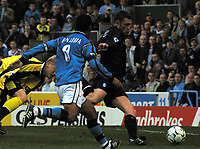 Photo. Chris Ratcliffe<br />Man City v Birmingham. FA Premiership. 16/03/2003<br />Somehow, having done the hard work Geof Horsfield manages to miss this easy chance for Birmingham City