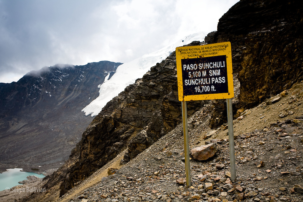 The Sunchuli Pass rises to 16,700 ft. in Bolivia's Andes range called the Apolobamba.