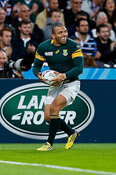 South Africa Winger Bryan Habana celebrates scoring his 3rd try of the match to draw level with Jonah Lomu at the top of the all time list on 15 tries in the Rugby World Cup - Mandatory byline: Rogan Thomson/JMP - 07966 386802 - 07/10/2015 - RUGBY UNION - The Stadium, Queen Elizabeth Olympic Park - London, England - South Africa v USA - Rugby World Cup 2015 Pool B.