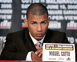 Miguel Cotto at the press conference announcing his upcoming fight June 10, 2006 at Madison Square Garden. Cotto will defend his WBO Jr. Welterweight Championship against Paulie Malignaggi.
