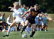 Villa Joseph Marie's Miranda Behr #42 battles for the soccer ball with Gwynedd Mercy Academy's Margaret Cameron #29 in the first half of a girls soccer game at Villa Joseph Marie Tuesday September 8, 2015 in Richboro, Pennsylvania.  (Photo by William Thomas Cain)