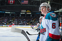 KELOWNA, CANADA - APRIL 14: Kaeden Korczak #6 of the Kelowna Rockets stands on the bench against the Portland Winterhawks on April 14, 2017 at Prospera Place in Kelowna, British Columbia, Canada.  (Photo by Marissa Baecker/Shoot the Breeze)  *** Local Caption ***