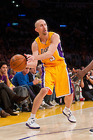30 October 2012: Guard (5) Steve Blake of the Los Angeles Lakers passes the ball against the Dallas Mavericks during the second half of the Mavericks 99-91 victory over the Lakers at the STAPLES Center in Los Angeles, CA.