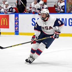 WHITBY, - Dec 17, 2015 -  Game #10 - United States vs. Russia at the 2015 World Junior A Challenge at the Iroquois Park Recreation Complex, ON. Andrew Peeke #9 of Team United States during the first period.<br /> (Photo: Shawn Muir / OJHL Images)