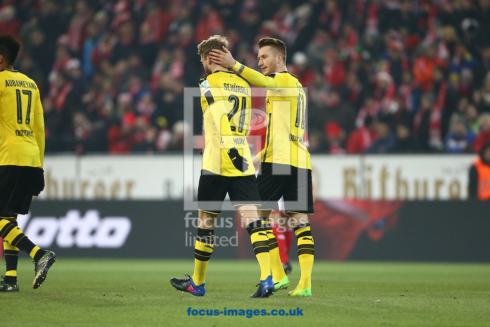 Marco Reus of Borussia Monchengladbach and team mates celebrate their first goal against FSV Mainz 05 during the Bundesliga match at Coface Arena, Mainz<br /> Picture by EXPA Pictures/Focus Images Ltd 07814482222<br /> 29/01/2017<br /> *** UK &amp; IRELAND ONLY ***<br /> <br /> EXPA-EIB-170129-0155.jpg