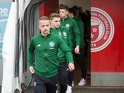 CelticÕs Leigh Griffiths leads James Forrest and rest of team as they arrive at ground prior to the Ladbrokes Scottish Premiership match at Hope CBD Stadium, Hamilton.