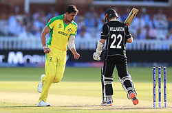 Australia's Mitchell Starc (left) celebrates the wicket of New Zealand's Kane Williamson during the ICC Cricket World Cup group stage match at Lord's, London.