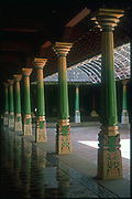 India. Chettinad house can have many courtyards. Food will be served when the families meeet at weddings, to guests seated along the cool tiled veranda's.<br />Copyright: Dominic Sansoni