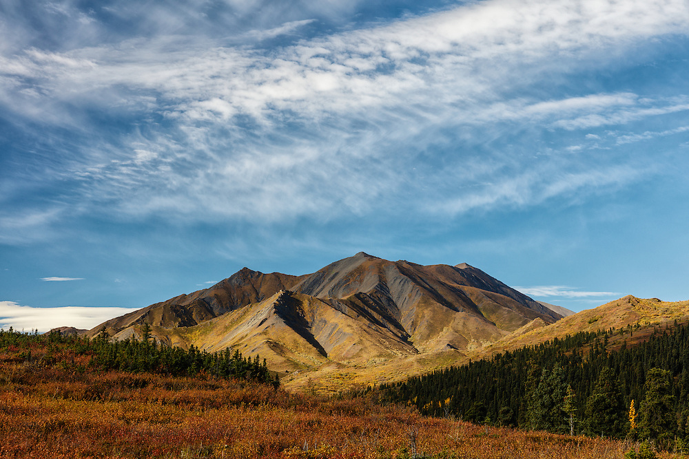 Early morning light on Sable Mountain near Igloo in Denali National Park in Interior Alaska. Autumn.