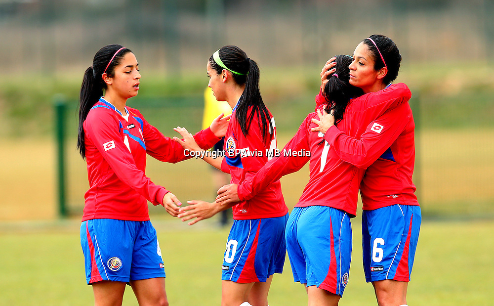 Fifa Womans World Cup Canada 2015 - Preview //<br /> Istria Cup 2015 Tournament ( Stella Maris Stadium , Umag - Croatia ) - <br /> Costarica vs Bosnia & Herzegovina 1-0  , <br /> Wendy Acosta of Costarica (Middle) celebrates with team mates Mariana Benavides (L) ,Melissa Herrera (7) <br /> and Carol Sanchez (6) , after score his Goal (1-0) during the match