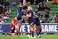 MELBOURNE, AUSTRALIA - APRIL 06: The Rebels celebrate as they score a try at round 8 of The Super Rugby match between Melbourne Rebels and Sunwolves on April 06, 2019 at AAMI Park in VIC, Australia. (Photo by Speed Media/Icon Sportswire)