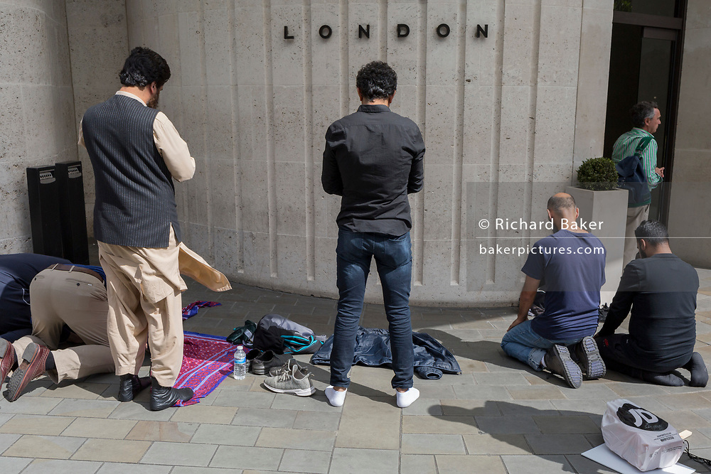 As Indians celebrate their Independence Day, Kashmiris and Pakistanis pray near India House, the Indian High Commission in London's Aldwych, during a protest about Indian PM Narendra Modi's recent decision to strip Indian-administered Kashmir of its special status, London, on 15th August 2019, in London, England.