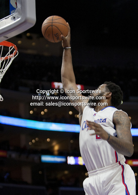Jan. 5, 2015 - Los Angeles, California, U.S - DeAndre Jordan #6 of the Los Angeles Clippers goes for a basket during their NBA game against the Atlanta Hawks at the Staples Center in Los Angeles, California on Monday, January 5, 2015. Hawks defeat Clippers 107-98