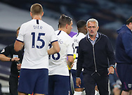 Jose Mourinho manager of Tottenham looks towards Eric Dier of Tottenham during the Premier League match at the Tottenham Hotspur Stadium, London. Picture date: 23rd June 2020. Picture credit should read: David Klein/Sportimage