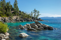 """Boulders at Lake Tahoe 41"" - These boulders and aqua waters were photographed along the shore of Lake Tahoe, just North of Sand Harbor."