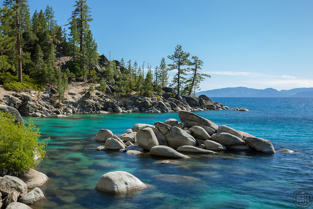 """""""Boulders at Lake Tahoe 41"""" - These boulders and aqua waters were photographed along the shore of Lake Tahoe, just North of Sand Harbor."""