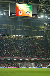 CARDIFF, WALES - Wednesday, November 19, 2003: The scoreboard at the Millennium Stadium makes sad reading for Wales fans during the Euro 2004 Qualification Play Off match against Russia in Cardiff. (Pic by David Rawcliffe/Propaganda)