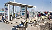 ROTTERDAM ZUID - De bushaltes van jonge hockeyclub met nieuw veld, tegen de skyline van Rotterdam Zuid., Hockeyclub Feijenoord. COPYRIGHT KOEN SUYK