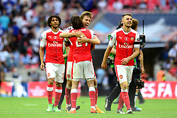 Nacho Monreal of Arsenal and Hector Bellerin celebrate beating Chelsea 2-1 in the FA Cup final - Mandatory by-line: Dougie Allward/JMP - 27/05/2017 - FOOTBALL - Wembley Stadium - London, England - Arsenal v Chelsea - Emirates FA Cup Final