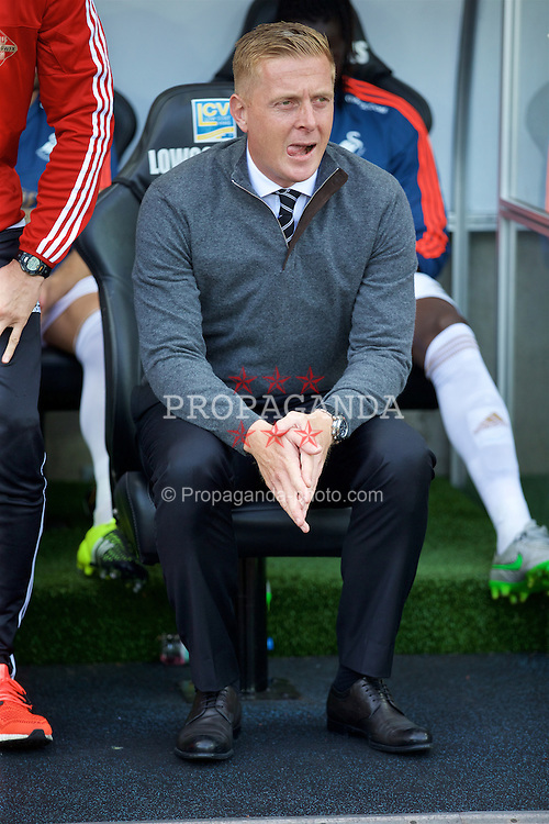 SWANSEA, WALES - Saturday, September 19, 2015: Swansea City's manager Garry Monk before the Premier League match against Everton at the Liberty Stadium. (Pic by David Rawcliffe/Propaganda)