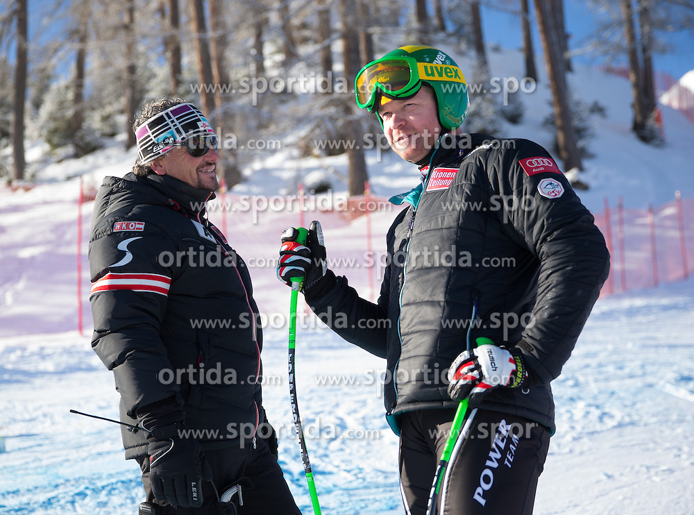 26.01.2013, Streif, Kitzbuehel, AUT, FIS Weltcup Ski Alpin, Abfahrt, Herren, Streckenbesichtigung, im Bild Mathias Berthold (OeSV Herren Cheftrainer) und Klaus Kroell (AUT) // Mathias Berthold (OeSV mens head coach) and Klaus Kroell of Austria at the Course inspection during mens Downhill of the FIS Ski Alpine World Cup at the Streif course, Kitzbuehel, Austria on 2013/01/26. EXPA Pictures © 2013, PhotoCredit: EXPA/ Johann Groder