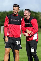 Marlon Pack and Lee Tomlin look on as Bristol City play Football Darts from Bristol Bubble Ball Ltd after training - Rogan Thomson/JMP - 30/09/2016 - FOOTBALL - Failand Training Ground - Bristol, England.
