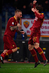 03.02.2019, Stadio Olimpico, Rom, ITA, Serie A, AS Roma vs AC Milan, 22. Runde, im Bild esultanza zaniolo // zaniolo celebrates during the Seria A 22th round match between AS Roma and AC Milan at the Stadio Olimpico in Rom, Italy on 2019/02/03. EXPA Pictures &copy; 2019, PhotoCredit: EXPA/ laPresse/ Alfredo Falcone<br /> <br /> *****ATTENTION - for AUT, SUI, CRO, SLO only*****