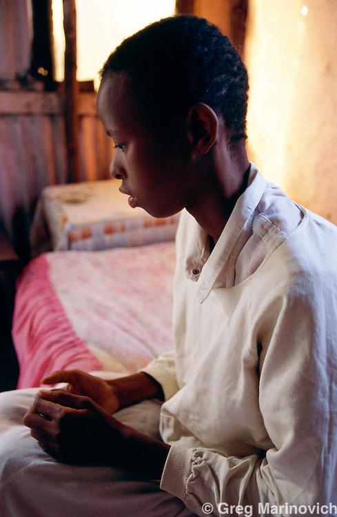 An HIV positive girl visits a psychologist, KwaZulu Natal. South Africa 1993.
