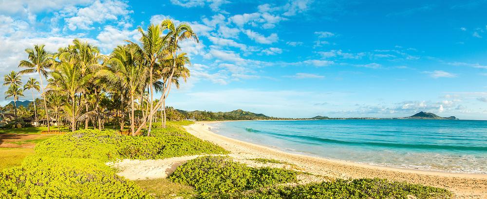 Panorama of calm and peaceful Kailua Beach, Oahu, Hawaii