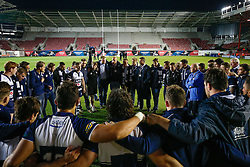 Bristol Rugby Scrum-Half Dwayne Peel gives a team talk after his side slip to a 28-29 defeat going into the second leg - Photo mandatory by-line: Rogan Thomson/JMP - 07966 386802 - 20/05/2015 - SPORT - Rugby Union - Bristol, England - Ashton Gate Stadium - Bristol Rugby v Worcester Warriors - Greene King IPA Championship Play-Off Final 1st Leg.