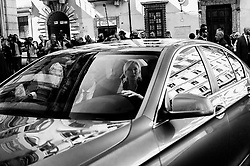 Marine Le Pen (inside the car), leader of the French nationalist National Rally party, after a news conference with Matteo Salvini, Italy's deputy prime minister, not pictured, at the 'Economic Growth And Social Prospects In A Europe Of Nations' event in Rome, Italy, on Monday, Oct. 8, 2018 Christian Mantuano / OneShot