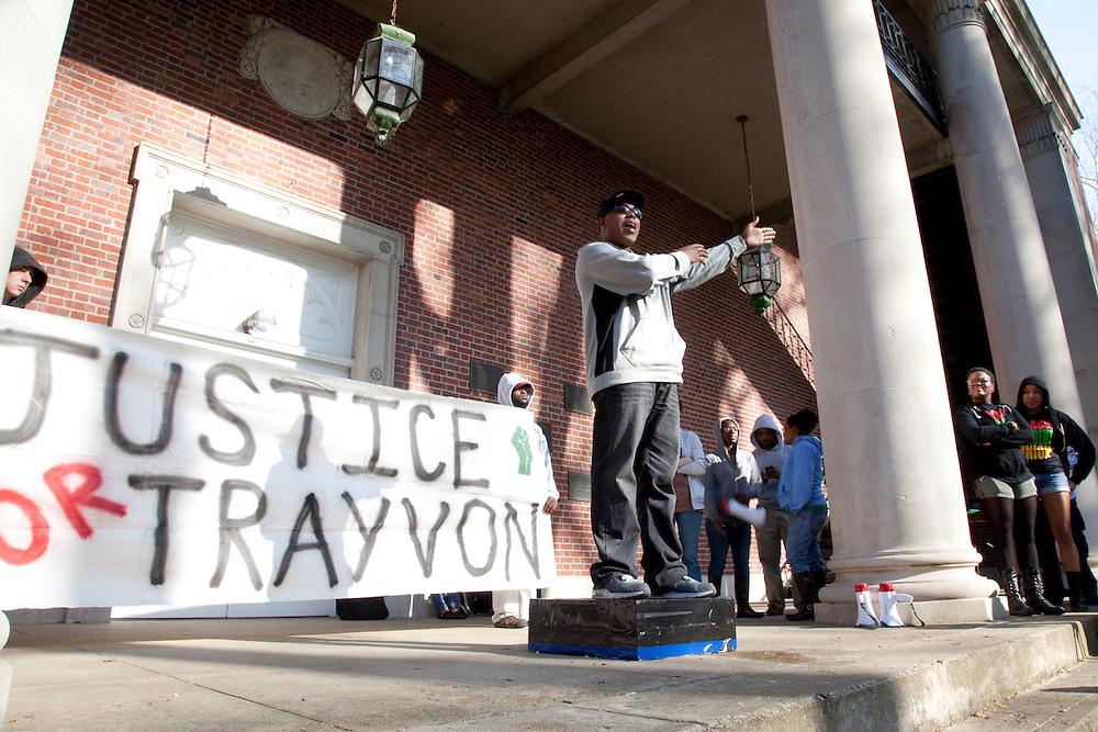 Professor Akil Houston speaks at the Treyvon Martin Rally, Marhh 2012