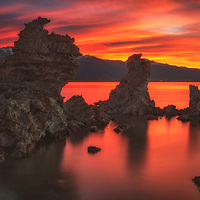 Red and purple sunset during a high water year at Mono Lake, California.