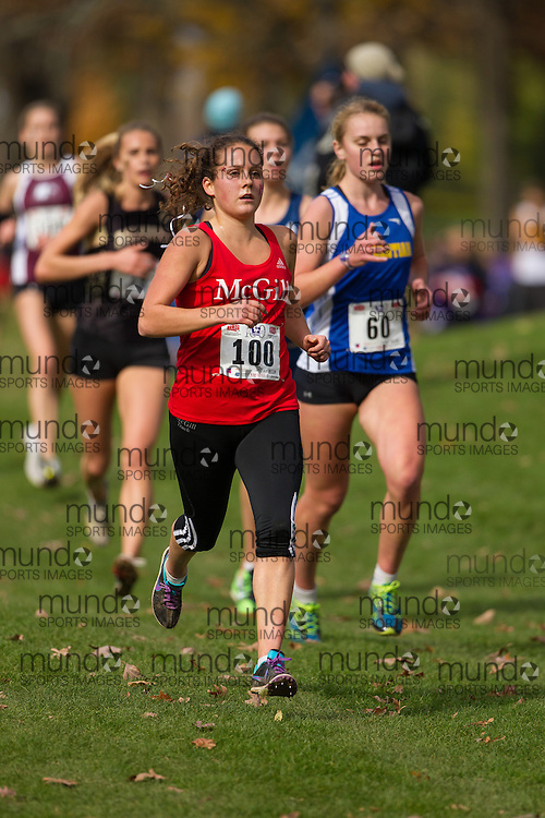 Jullien Flynn of McGill Martlets runs in the women's  6K Dash at the 2013 CIS Cross Country Championships in London Ontario, Saturday,  November 9, 2013.<br /> Mundo Sport Images/ Julie Robins
