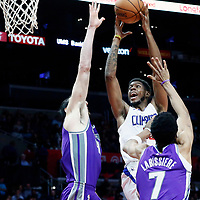 12 October 2017: LA Clippers center Willie Reed (35) goes for the dunk over Sacramento Kings center Kosta Koufos (41) during the LA Clippers 104-87 victory over the Sacramento Kings, at the Staples Center, Los Angeles, California, USA.