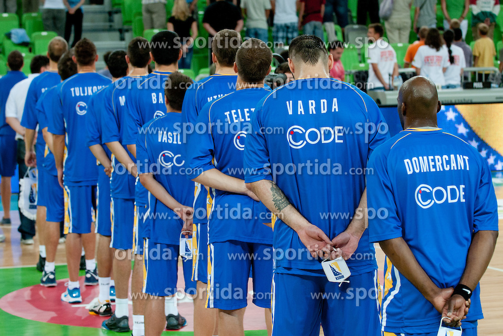 Team BIH at friendly match between Slovenia and Bosnia and Hercegovina for Adecco Cup 2011 as part of exhibition games before European Championship Lithuania on August 9, 2011, in SRC Stozice, Ljubljana, Slovenia. (Photo by Matic Klansek Velej / Sportida)