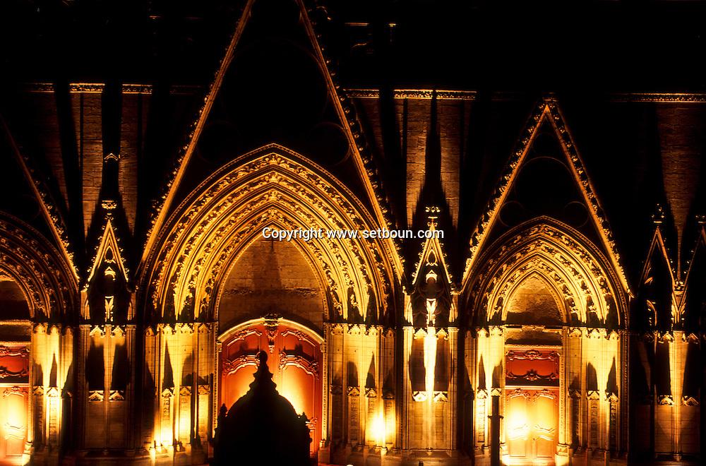 France. Lyon . Each year the fiesta of the light is held on December 8.     historical light show on Primatial Saint Jean       Chaque annee, le 8 decembre, jour de la fête des lumières. La primatiale St jean s'illumine, et les lyonnais se retrouvent  sur le parvis. Cette tradition est nee en 1852, avec l'inauguration de la statue de la vierge à Fourvière      R00063 10    L931208b     P0000262
