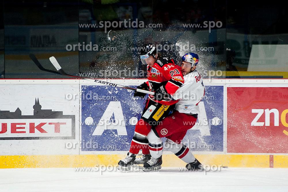 13.02.2015, Ice Rink, Znojmo, CZE, EBEL, HC Orli Znojmo vs EC Red Bull Salzburg, Platzierungsrunde, im Bild v.l. Jakub Grof (HC Orli Znojmo) // during the Erste Bank Icehockey League placement round match between HC Orli Znojmo and EC Red Bull Salzburg at the Ice Rink in Znojmo, Czech Republic on 2015/02/13. EXPA Pictures © 2015, PhotoCredit: EXPA/ Rostislav Pfeffer