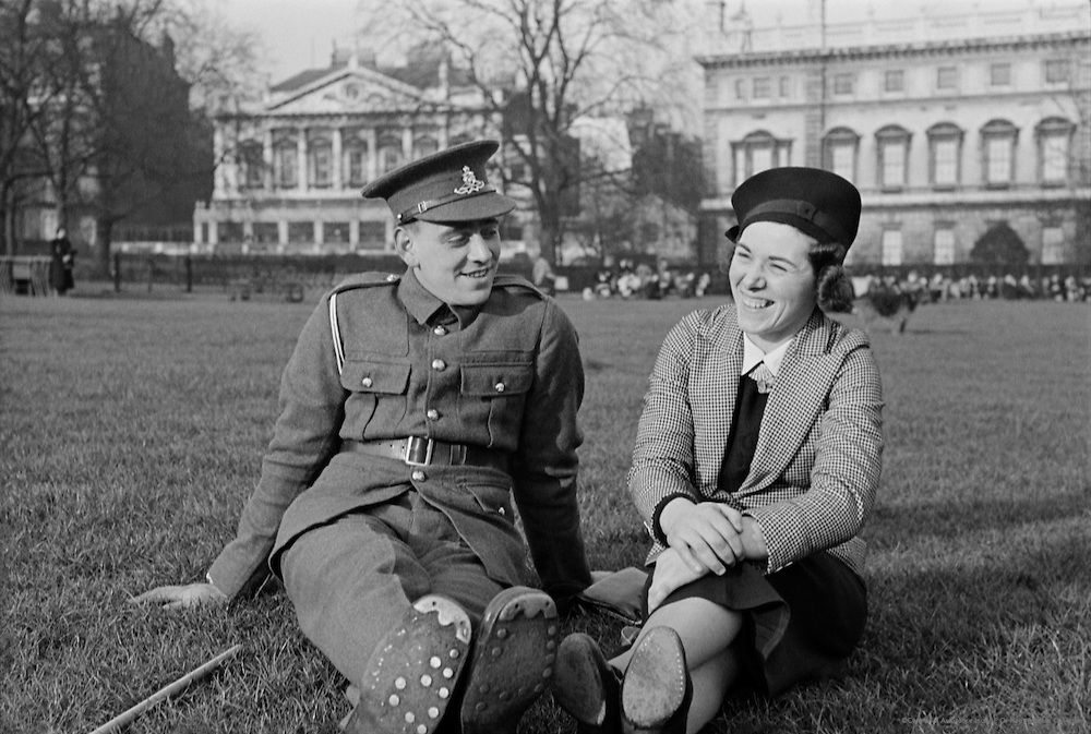 Soldier and His Girlfriend Sitting in a Park, London, 1935