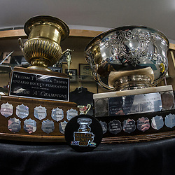 TRENTON, ON  - MAY 6,  2017: Canadian Junior Hockey League, Central Canadian Jr. &quot;A&quot; Championship. The Dudley Hewitt Cup Championship Game between Trenton Golden Hawks and Georgetown Raiders.   William T. Ruddock Trophy and the Dudley Hewitt Cup. <br /> (Photo by Alex D'Addese / OJHL Images)