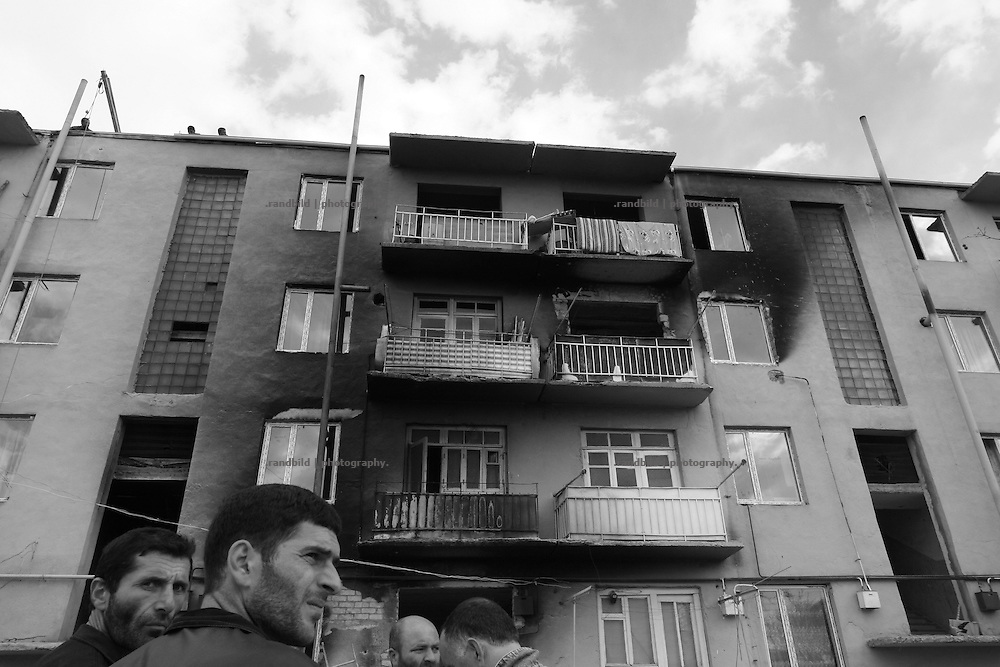 An georgian apartment house damaged by fire in Karaleti, located in the so called bufferzone between Gori and Tskhinvali, few days after the withdrawal of the russian forces from the area. The bufferzone was etablished after a short war in August 2008 as the georgian army assulted South Ossetia to overthrow the local separatist government.