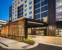Dusk exterior elevation of the new Westin Jackson Hotel designed by ESG Architects.