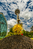 The glasshouse and garden of the Chihuly Garden and Glass Museum, with the Space Needle behind, Seattle Center, Seattle, Washington USA.