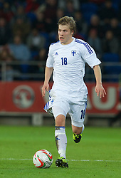CARDIFF, WALES - Saturday, November 16, 2013: Finland's Jere Uronen in action against Wales during the International Friendly match at the Cardiff City Stadium. (Pic by David Rawcliffe/Propaganda)