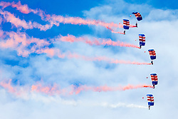 © Licensed to London News Pictures. 24/06/2017. Scarborough UK. The RAF Falcons Parachute team arrive in Scarborough to celebrate Armed Forces Day. Photo credit: Andrew McCaren/LNP