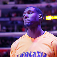 02 December 2015:  Indiana Pacers center Ian Mahinmi (28) is seen during the national anthem prior to the Indiana Pacers 103-91 victory over the Los Angeles Clippers, at the Staples Center, Los Angeles, California, USA.