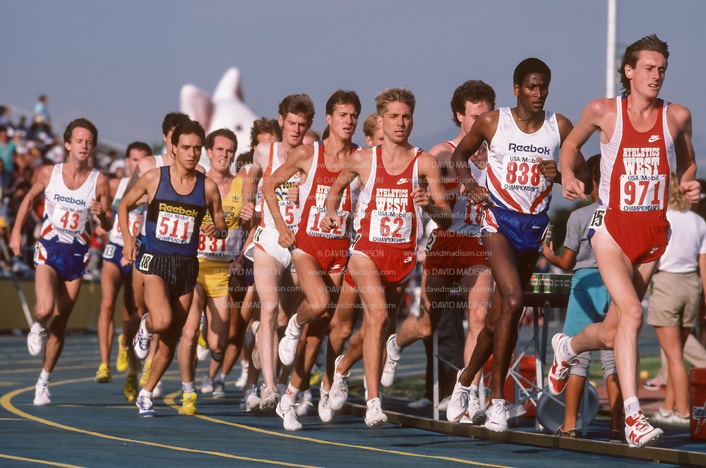 SAN JOSE, CA - JUNE 1987:  Charlie Bevier #838, Gerard Donakowski #62, Pat Porter #122, Dan Gonzalez #511, Craig Virgin (in yellow) run in the 1987 TAC Championships Men's 10,000 meter race held during June 1987 at San Jose City College in San Jose, California.  (Photo by David Madison/www.davidmadison.com)
