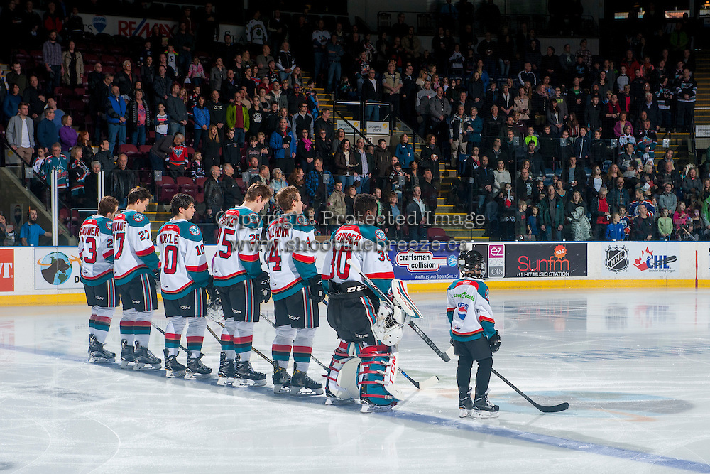 KELOWNA, CANADA - FEBRUARY 13: Kelowna Rockets' starting line up with the Pepsi player on February 13, 2017 at Prospera Place in Kelowna, British Columbia, Canada.  (Photo by Marissa Baecker/Shoot the Breeze)  *** Local Caption ***