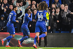 February 21, 2019 - London, Great Britain - 190221 Callum Hudson-Odoi of Chelsea celebrates after 3-0 during the Europa league match between Chelsea and MalmÅ¡ FF on February 21, 2019 in London..Photo: Petter Arvidson / BILDBYRN / kod PA / 92228 (Credit Image: © Petter Arvidson/Bildbyran via ZUMA Press)