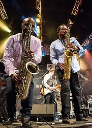 Themba Ndaba, Mango Groove. Cape Town Jazz Festival Free Community Concert, 29 March 2017. Greenmarket Square. Photo by Alec Smith/imagemundi.com